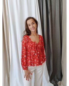 Designers Society 34315 blouse coral flowers