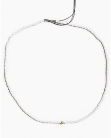 Fashionology mini white bead ketting gold