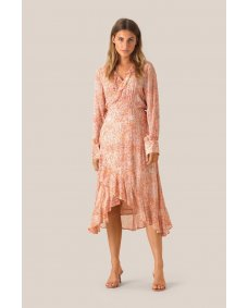 Second Female Floral wrap jurk apricot brandy