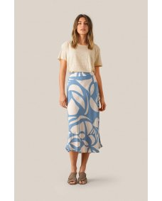 Second Female Mala midi rok faded denim