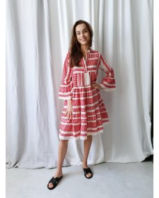 Devotion Embroidery Ella red 020370G jurk