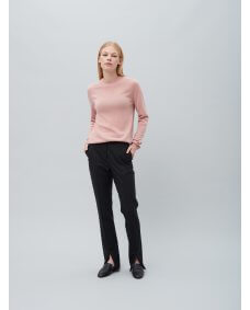 Peoples republic cashmere Womens roundneck cashmere trui strawberry shake