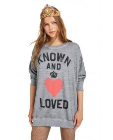 WILDFOX FW18 Known and loved trui heather grey